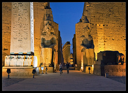 Luxor Temple front by night