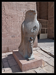 Horus at the entrance, left